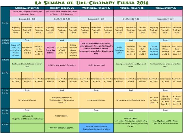 2016 Uke-Culinary Fiesta Schedule